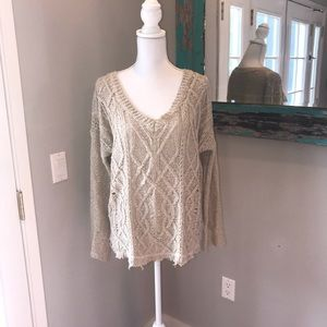 En Creme bell sleeve cable knit sweater